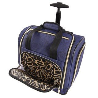 Bebe Valentina 16-inch Under the Seat Rolling Carry-On Tote Bag