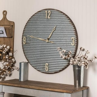 The Gray Barn Jartop Oversized 33-inch Galvanized Metal Wall Clock