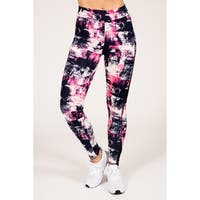 Active Abstract Print Legging with Double Mesh Insert