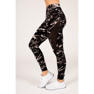 Active Black & White Marble Legging with Double Mesh Insert (3 options available)