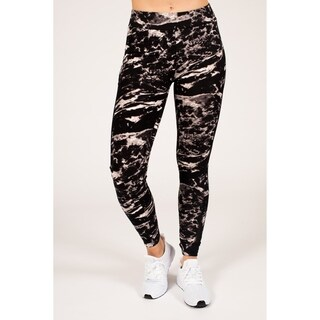 Active Black & White Marble Legging with Double Mesh Insert