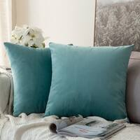 Velvet Soft Soild Decorative Throw Pillow Covers, Pack of 2