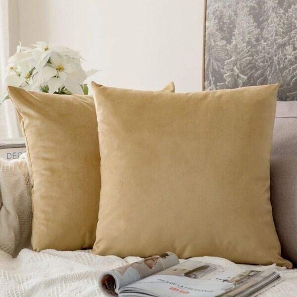 Velvet Soft Soild Square Throw Pillow Covers, Pack of 2