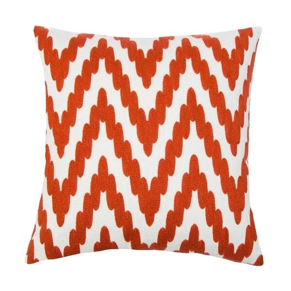 Embroidery Zig Zag Pattern Orange Cotton Cushion Cover