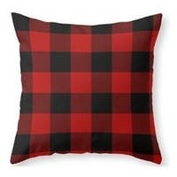 Rustic Red Black Buffalo Check Plaid Pattern pillow case