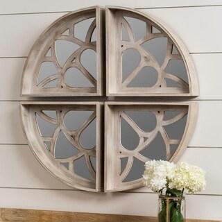 Polly Whitewash Round Wall Mirror