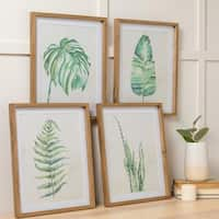 Print- Set of Four Leaf Wall Art - Green/Brown/White