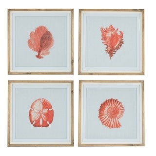 Beach Prints- Set of four wall art - Orange/Red