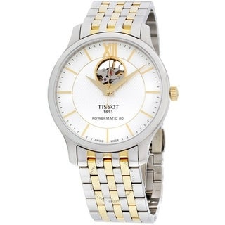 Tissot Tradition Powermatic 80 Open Heart Two-tone Stainless Steel Mens Watch T0639072203800