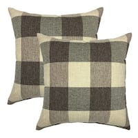 Valentines Day Brown Tartan Plaid Cotton Linen Cushion Cover