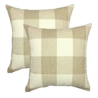 Retro Farmhouse Beige White Tartan Plaid Cotton Linen Cushion Cover