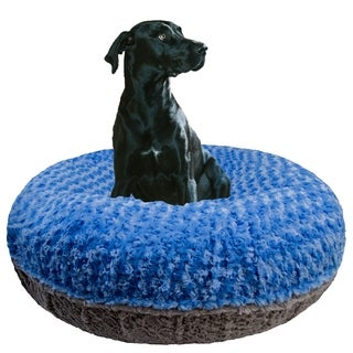 Bessie and Barnie Signature Blue Sky/ Serenity Grey Luxury Extra Plush Faux Fur Bagel Pet / Dog Bed