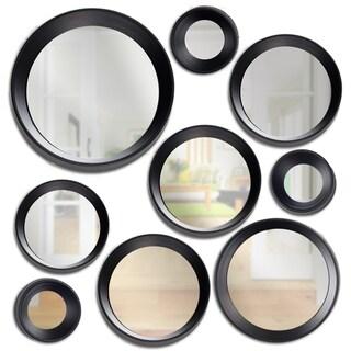 9-Piece Round Modern Black Framed Hanging Wall Vanity Mirror Set (Various Sizes)