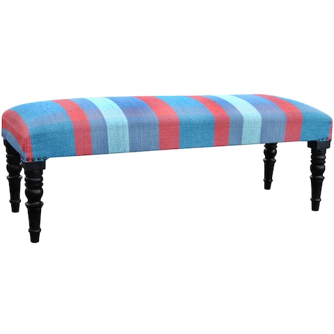 "Handmade Cotton Upholstered Wood Bench (India) - 48"" x 16"" x 18"""