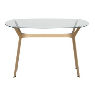 "Offex Archtech Modern Glass 48"" Desk , Dining Table in Gold and Clear Glass"