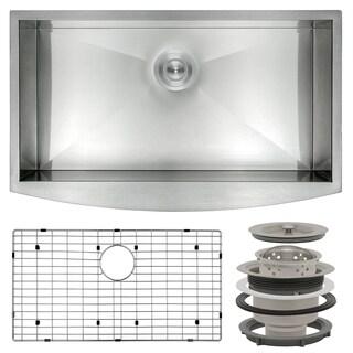 "AKDY KS0063 33"" x 20"" x 9"" Stainless Steel Apron Farmhouse Handmade Kitchen Sink Dish Grid"