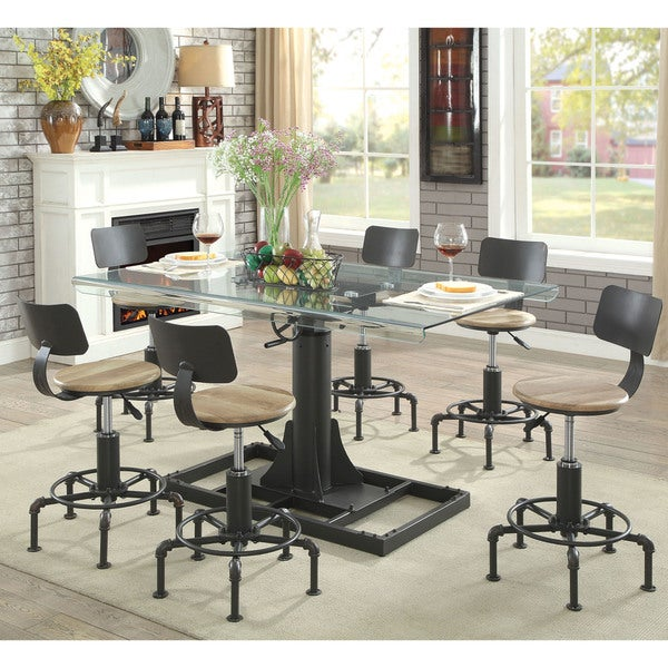 furniture industrial style. Furniture Of America Charlie Industrial Style Adjustable Dining Table -  Black Furniture Industrial Style