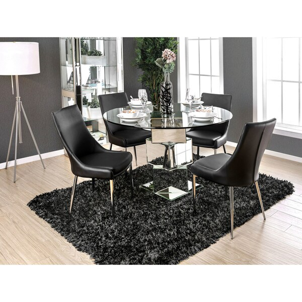 Attirant Shop Furniture Of America Rubo Modern Chrome Geometric Round Dining Table    Black   On Sale   Free Shipping Today   Overstock   20004636