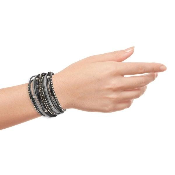 Handmade Saachi Distressed Leather Bracelet (China) - Black