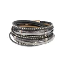 Handmade Saachi Distressed Leather Bracelet (China) - Black