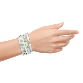 Handmade Saachi Braided Flower Leather Bracelet (China) - Silver