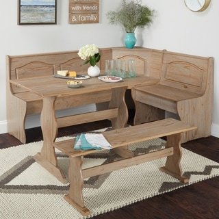 Dining room table bench Farmhouse Simple Living Knox 3piece Nook Set Overstockcom Buy Bench Seating Kitchen Dining Room Sets Online At Overstockcom