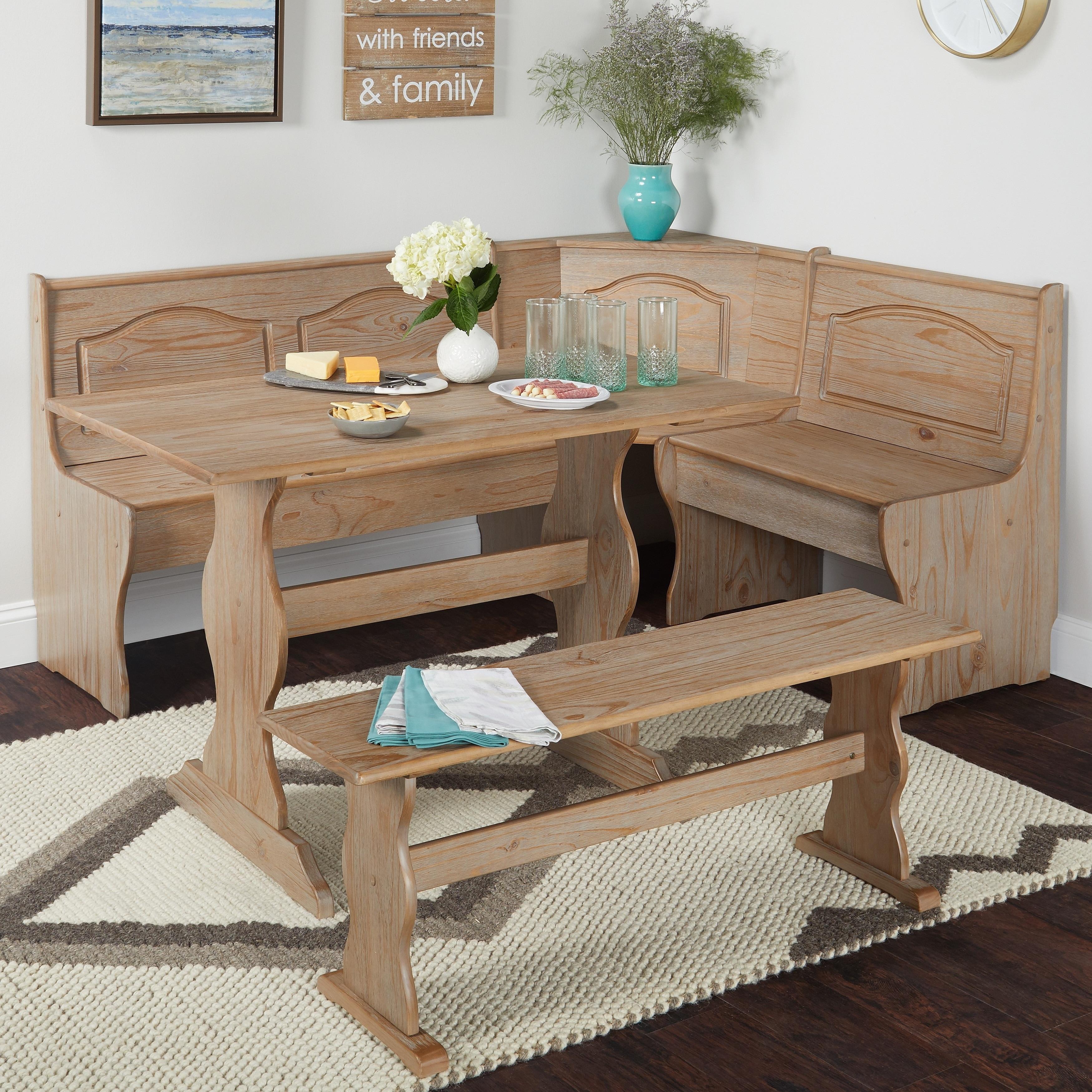 Kitchen Nook Solid Wood Corner Dining Breakfast Set Table Bench Chair 3 Piece