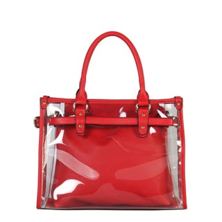 Diophy Large Fashion Clear Tote Womens Handbag - L (Option: Red)