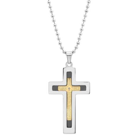 "Steeltime Men's Tri-Colored Stainless Steel ""Our Father"" Prayer Layered Cross Pendant"