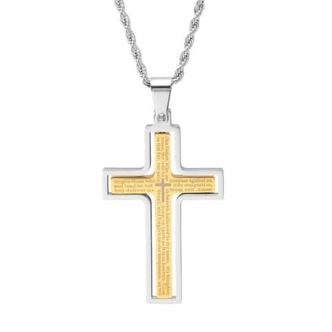 "Steeltime Men's Stainless Steel ""Our Father"" Prayer Cross Pendant in 2 Colors"