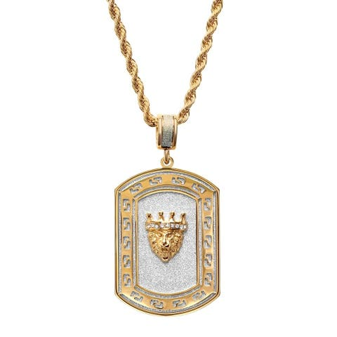Steeltime Men's Two-tone Stainless Steel Sandblasted Lion Dog Tag Pendant with Cubic Zirconia and Greek Key Accent