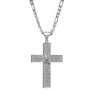 Steeltime Men's Stainless Steel Serenity Prayer Cross Pendant on a Figaro Chain in 2 Colors