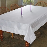 Violet Linen Luxurious Damask Crocodile Design Tablecloth - White or Gold