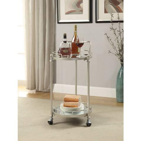Grayson Round Silver Mirror Bar Cart