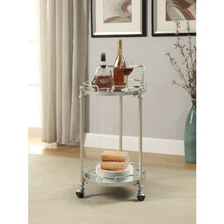 Grayson Round Silver Mirror Bar Cart