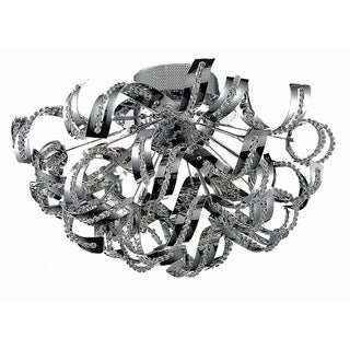 Tiffany 19-Light 25 in. Chrome Flush Mount with Elegant Cut Crystals