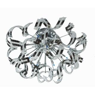 Tiffany 12-Light 21 in. Chrome Flush Mount with Elegant Cut Crystals