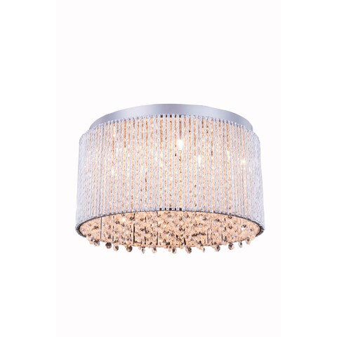 Influx 10-Light 16 in. Chrome Flush Mount with Royal Cut Crystals