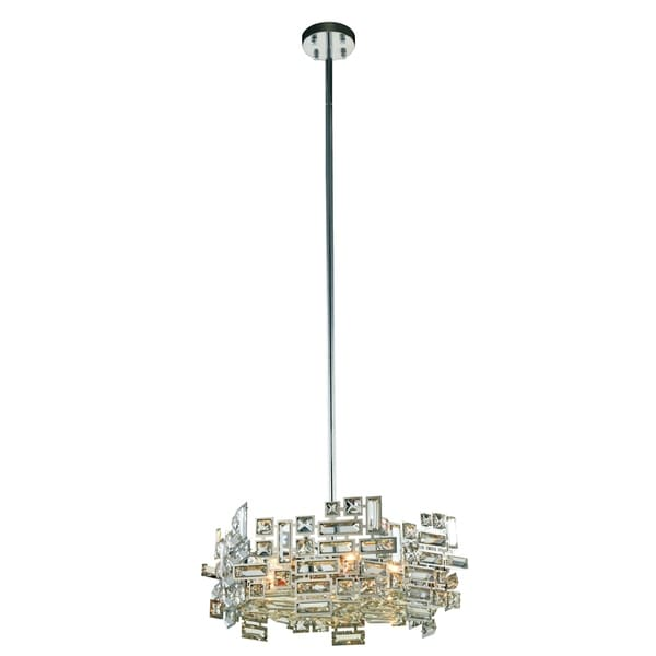 Elegant Lighting Picasso Chrome Steel with Royal Cut Crystals 6-light 20-inch Pendant