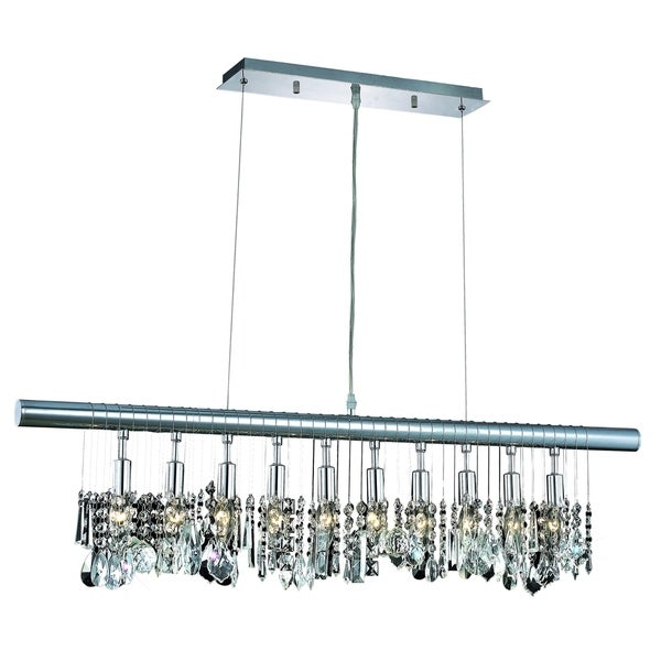 Elegant Lighting Chorus Line 10-Light 40-Inch Chrome Chandelier With Royal Cut Crystals