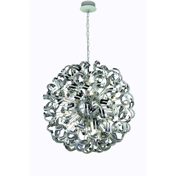 Tiffany 30-Light 43 in. Chrome Chandelier with Elegant Cut Crystals