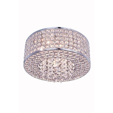 Amelie 4-Light 12 in. Chrome Flush Mount with Royal Cut Crystals - chrome (royal cut crystals) - chrome (royal cut crystals)
