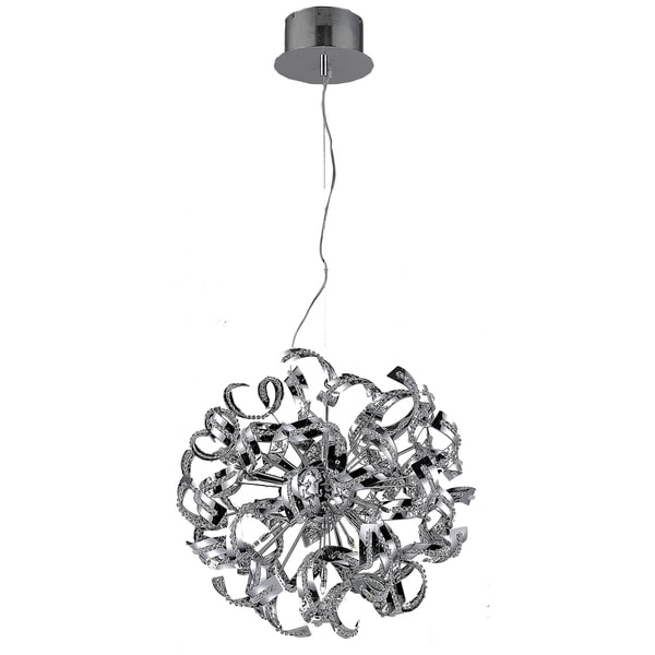 Tiffany 9-Light 19 in. Chrome Pendant with Elegant Cut Crystals