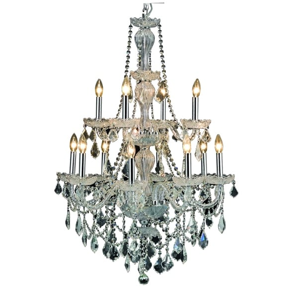 Giselle 12-Light 28 in. Chandelier with Royal Cut Crystals (Available in Chrome and Gold)