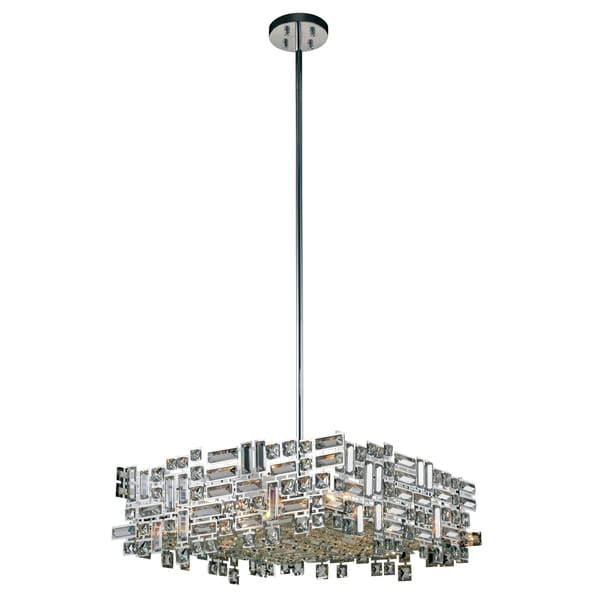 Elegant Lighting Picasso Chrome Steel/Royal-cut Crystal 24-inch 6-light Pendant