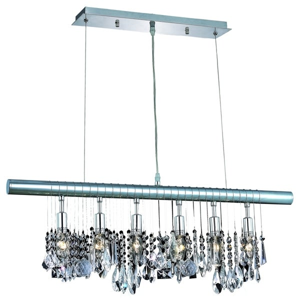 Chorus Line 6-Light 30-Inch Chrome Chandelier With Royal Cut Crystals