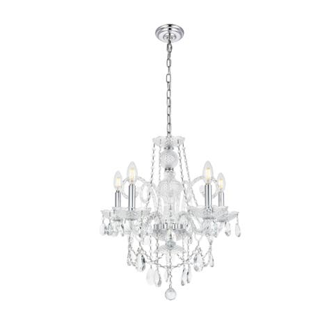 Princeton 5-Light 20 in. Chandelier with Royal Cut Crystals (Available in Chrome and Gold)