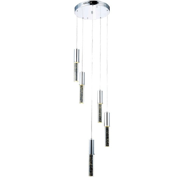 Diva 5-Light 14 in. Chrome Pendant with Royal Cut Crystals