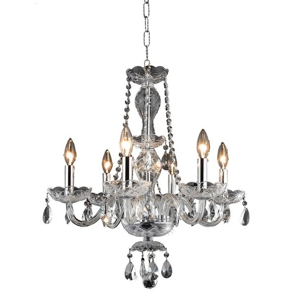 Princeton 6-Light 20 in. Chandelier with Royal Cut Crystals (Available in Chrome and Gold)