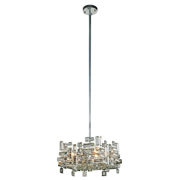 Elegant Lighting Picasso Chrome Steel with Royal Cut Crystals 4-light 14-inch Pendant
